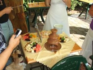 čokoládová fontána a sposta ovoce - mňam