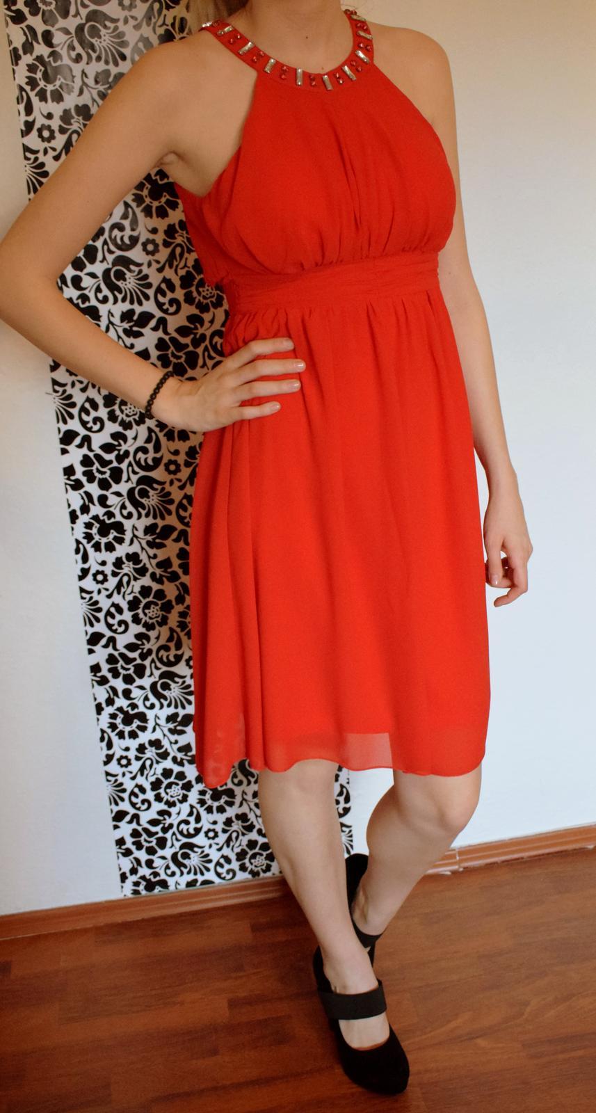 Spoločenské šaty krátke červené S / 36 - Obrázok č. 1