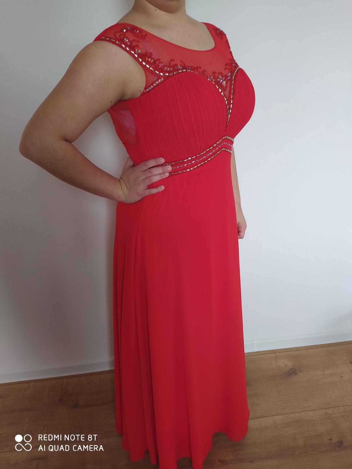 Spoločenské šaty dlhé červené 42 / XL - Obrázok č. 1