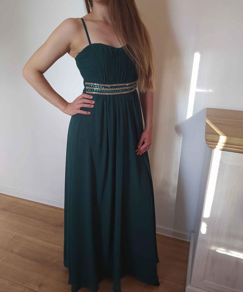 Spoločenské šaty dlhé zelené 36/S - Obrázok č. 1