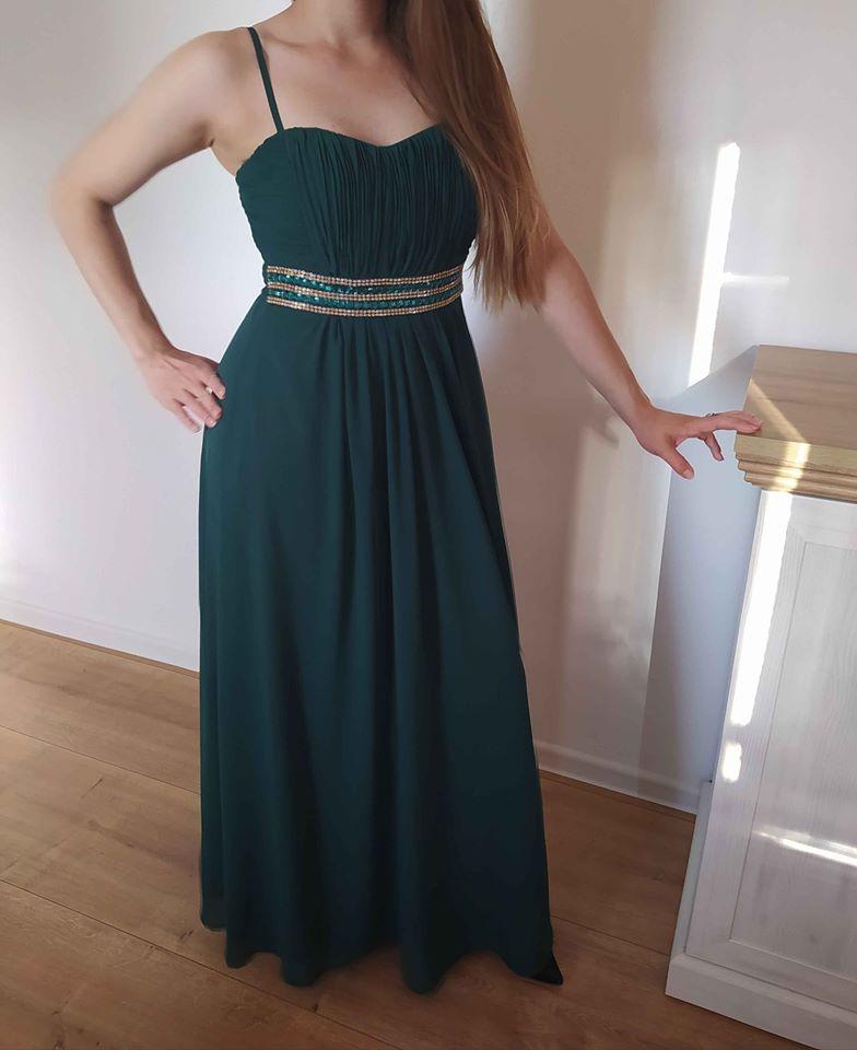 Spoločenské šaty dlhé zelené 36/S - Obrázok č. 3