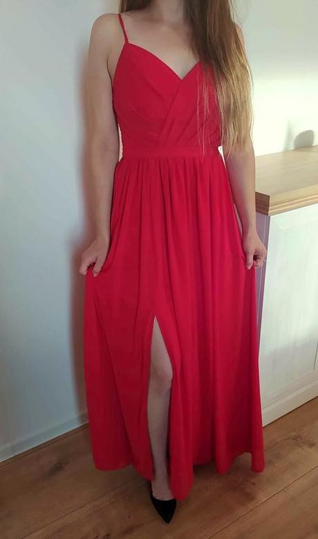 Spoločenské šaty dlhé červené S / 36 - Obrázok č. 2