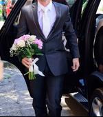 Oblek Slim fit strih + kosela a kravata, 38