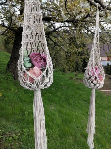 Makramé dekorácia, držiak na kvetináč alebo svietnik - Obrázok č. 1