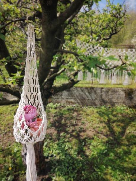 Makramé dekorácia, držiak na kvetináč alebo svietnik - Obrázok č. 3