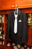 elegantny svadobny oblek cierny velkost-56 , 56