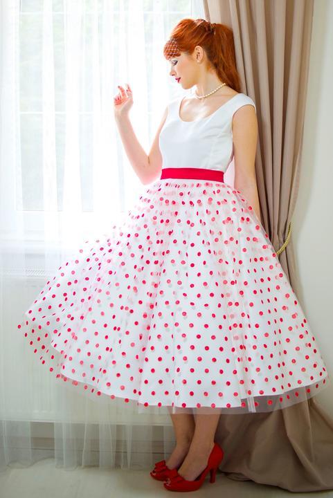 Svatební retro šaty s puntíky - šaty šijeme v konfekční velikosti i na  zakázku -  3348b4c0c13