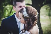 Krajková svatební čelenka,