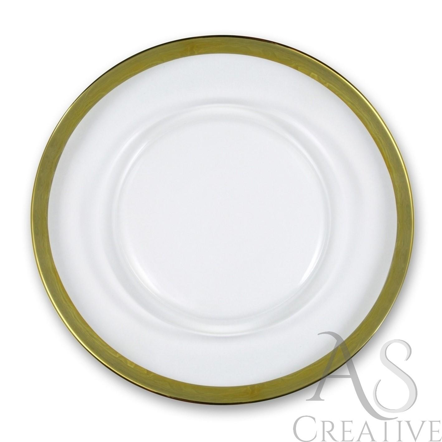Klubový tanier na predaj - hladké so zlatým lemom - Obrázok č. 1