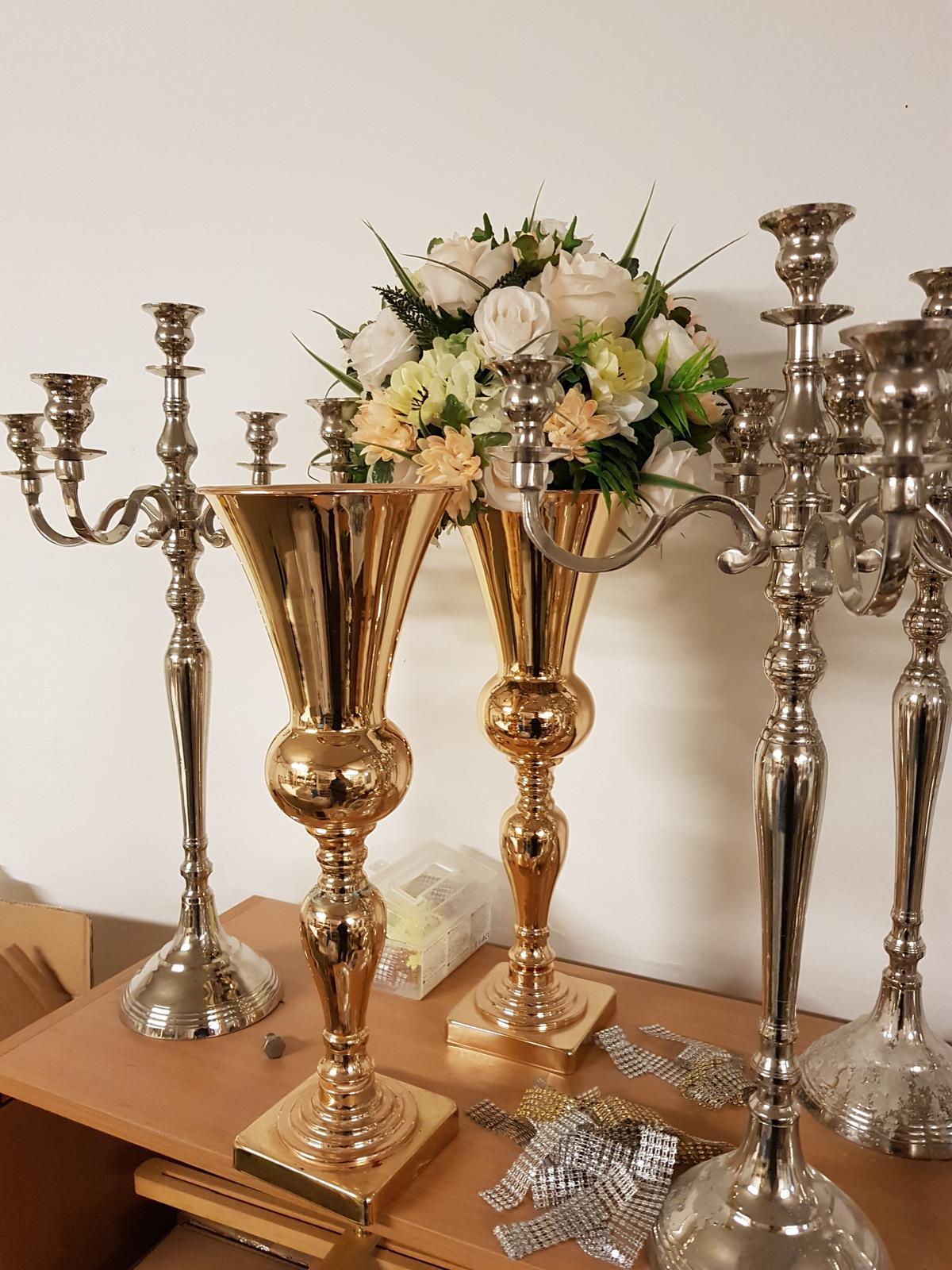 Váza zlatá 48cm - Obrázok č. 3