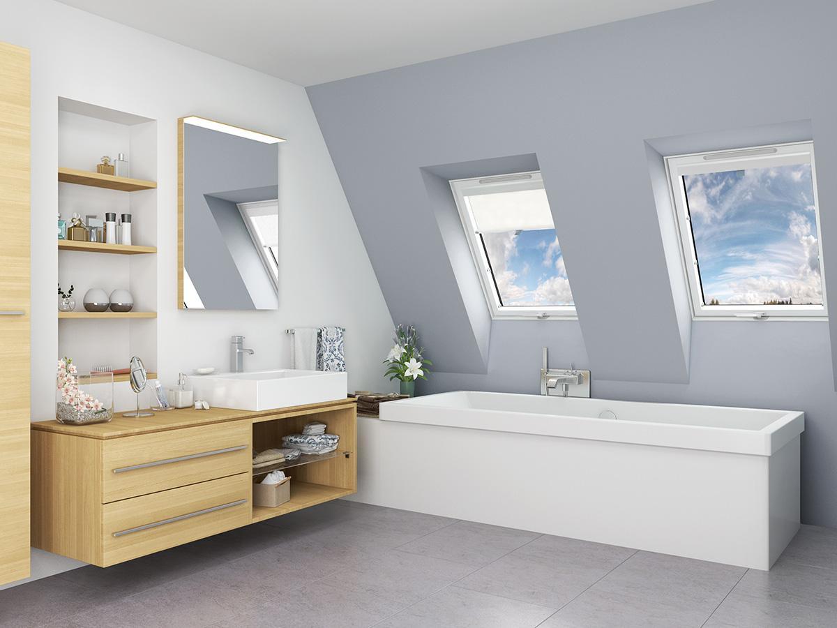 stresneoknaeshop - Plastové strešné okná Solstro v kúpeľni
