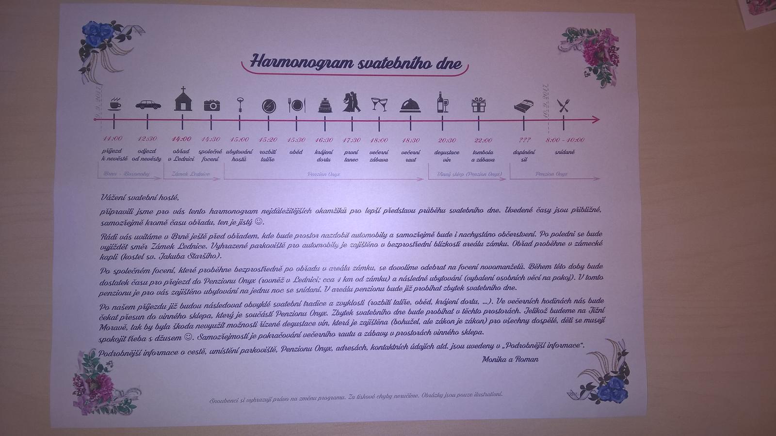 Přípravy na náš velký den D. - Harmonogram