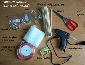 Návod na ribbon wands a co je potřeba(jinak vše jsem objednala na aliexpressu, pokud chcete pošlu odkaz), jinak ribbon wands jsou super při průchodu špalírem, na fotkách to vypadá dobře,( tak si ušetříte uklízení při házení konfet