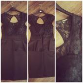 Čierne peplum šaty, 38