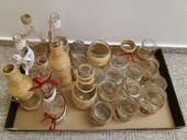 Vázy, svícínky vínovobílá+juta,