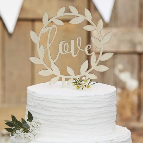 Dřevěný zápich do dortu - love v kruhu - Obrázek č. 1