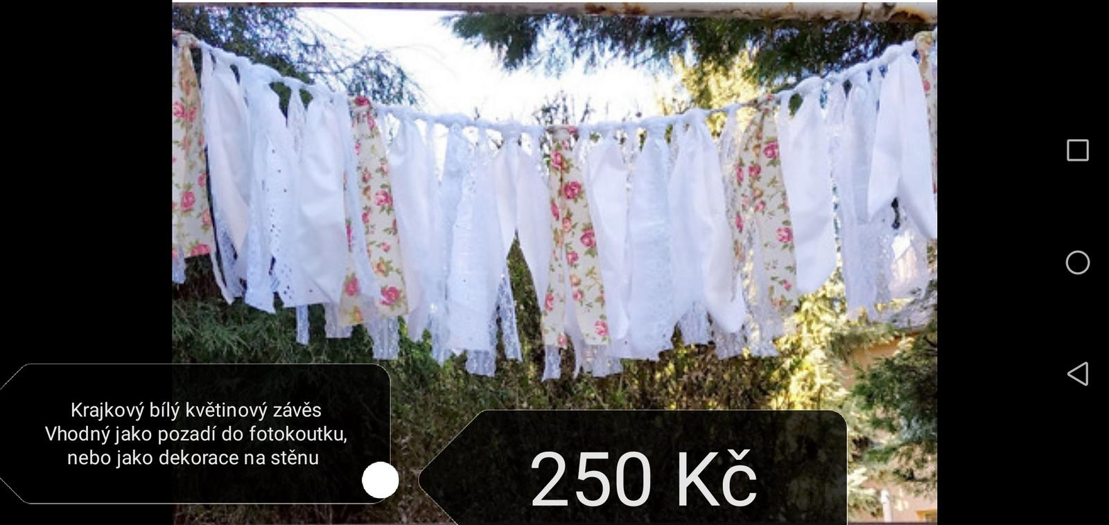 Krajkový bílý květinový závěs - Obrázek č. 1