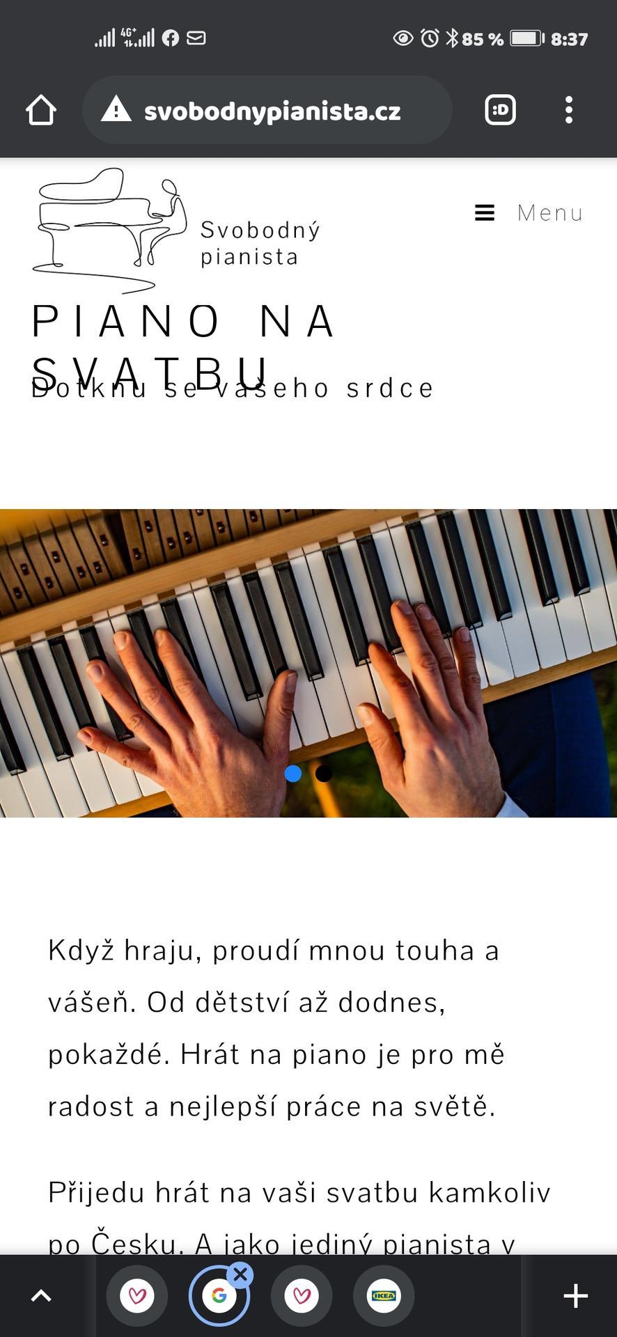 Vrabcovi 10.9.2022 - Během obřadu a poté nám bude hrát šikovný Pavel, rozhodujeme se mezi klasickým a elektrickým pianem