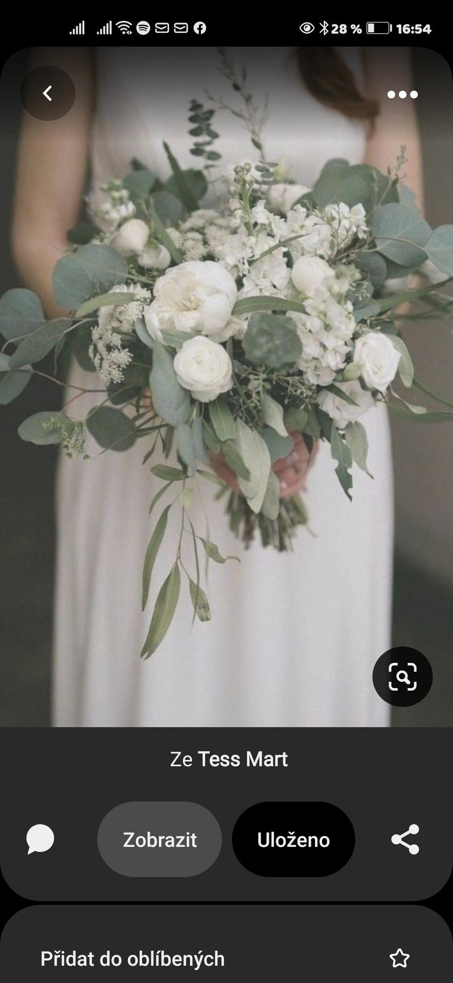 Moje představy - svatební kytice - pivoňky a eukalyptus základ všeho, bez růží