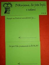 Kartičky, které se budou lepit na výslužky a další pro svatebčany, kteří můžou vyjádřit svůj názor :-)