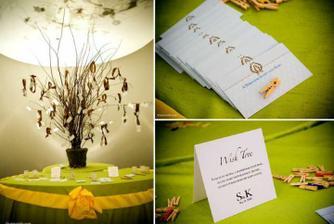 strom přání s lístečky v barvě svatby a kytice