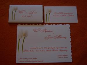 naše svatební oznámení, pozvánka ke stolu a čokoládky