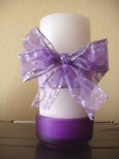 Svíčka na stůl pro novomanžele. Vlastní výroba :-)