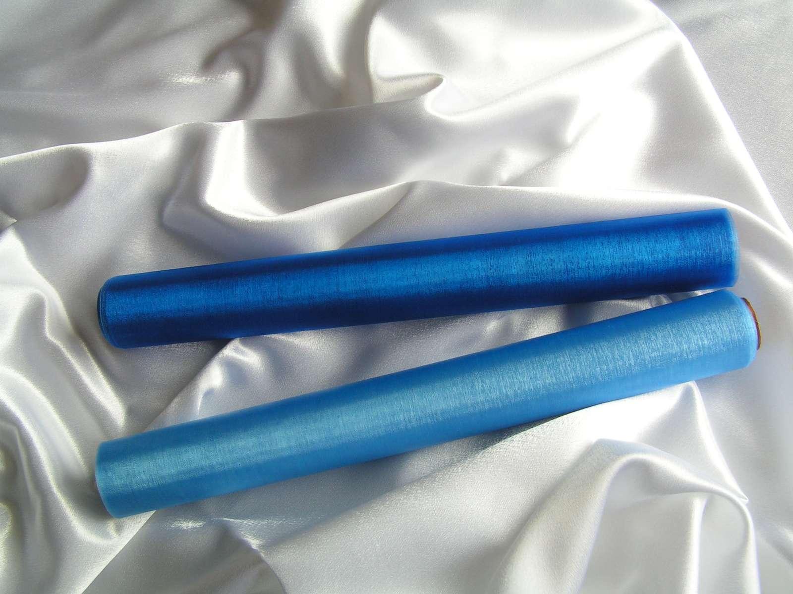Organza světle a tmavě modrá - Obrázek č. 1