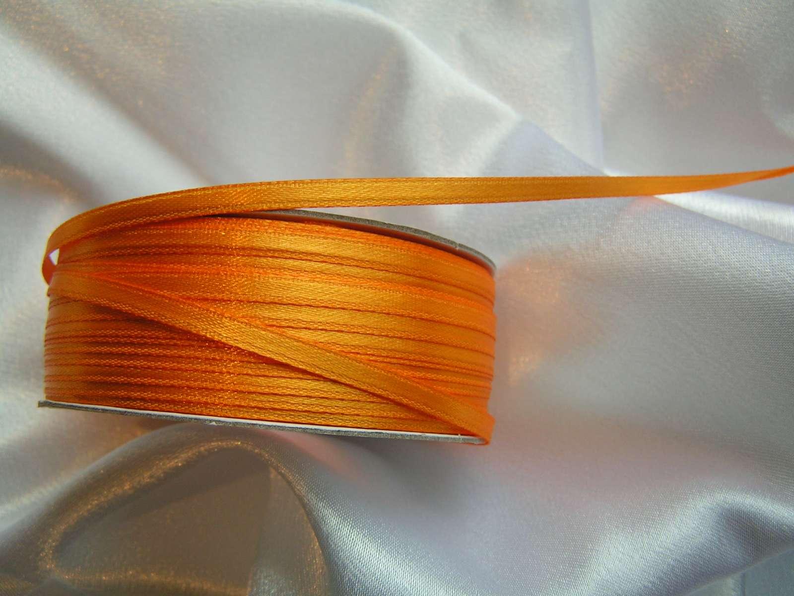 Saténová stuha oranžová 3 mm - Obrázek č. 1
