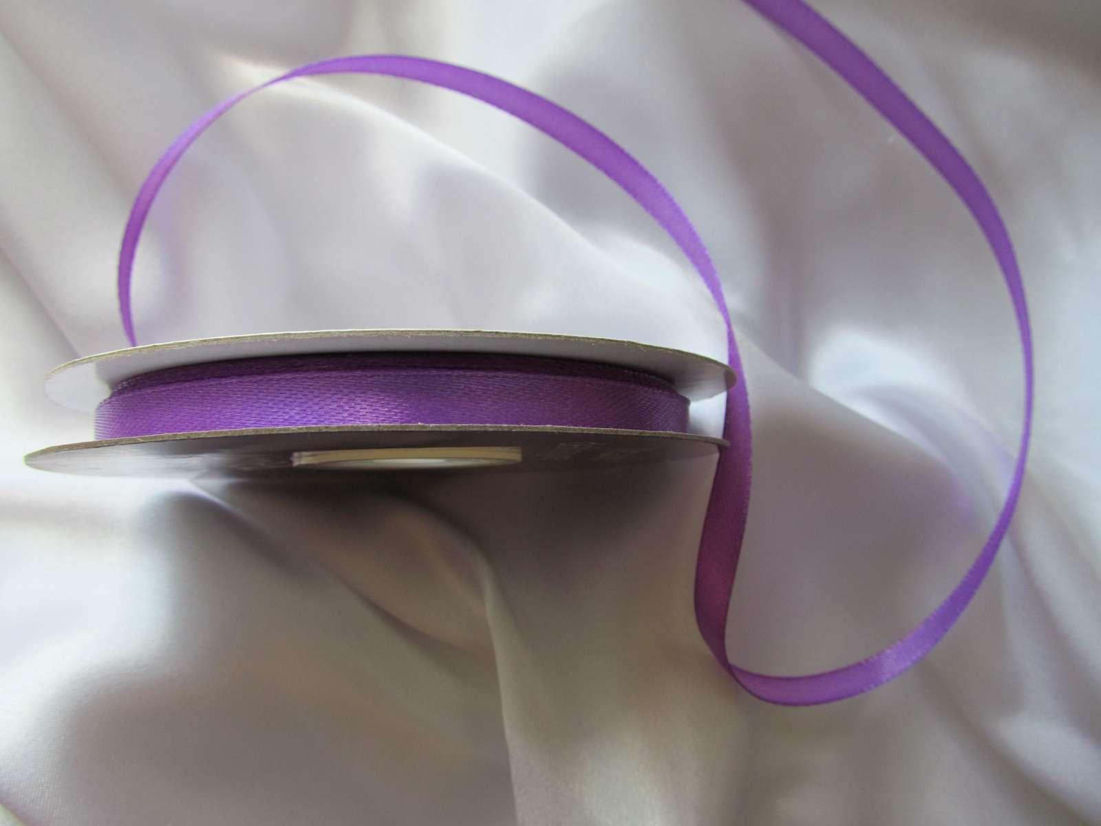 Fialová saténová stuha - 6 mm - Obrázek č. 1