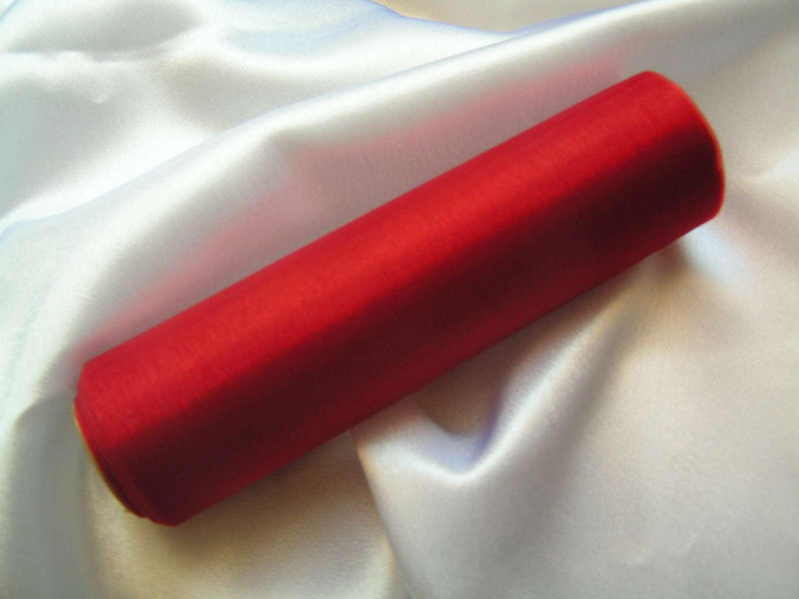 Tmavě červená organza 16 cm x 9 m - Obrázek č. 1