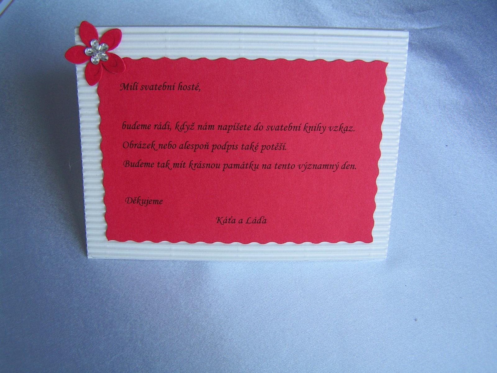 Cedulka ke svatební knize - Obrázek č. 1