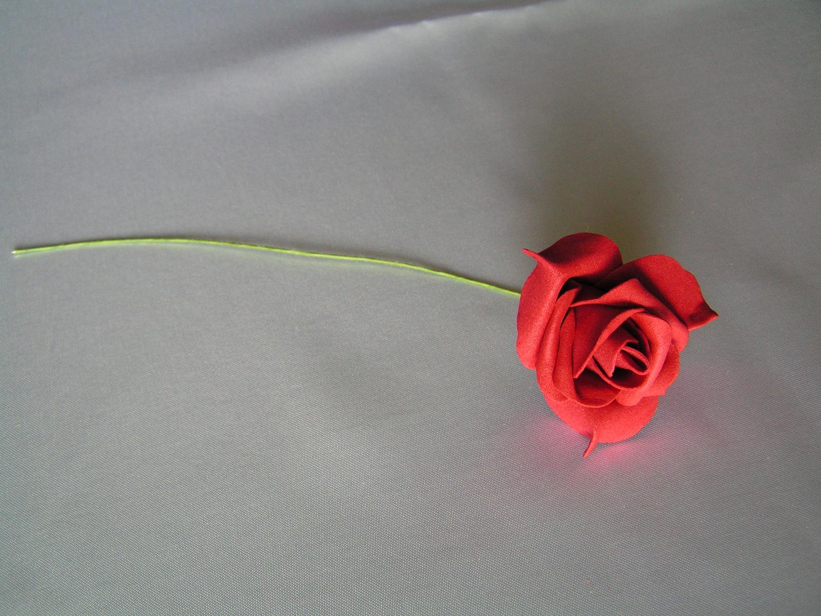Tmavě červené pěnové růže 7 cm - Obrázek č. 1