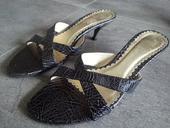 Elegantné letné sandálky čiernostrieborné, 38