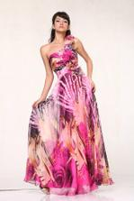 #09721 Print Chiffon Rosettes One Shoulder Pageant Evening Prom Dress