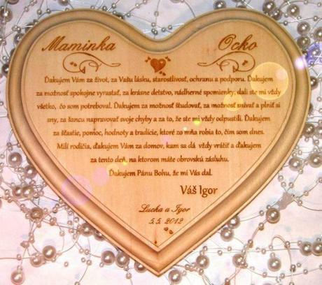 Poďakovanie rodičom - srdce drevené - Obrázok č. 1