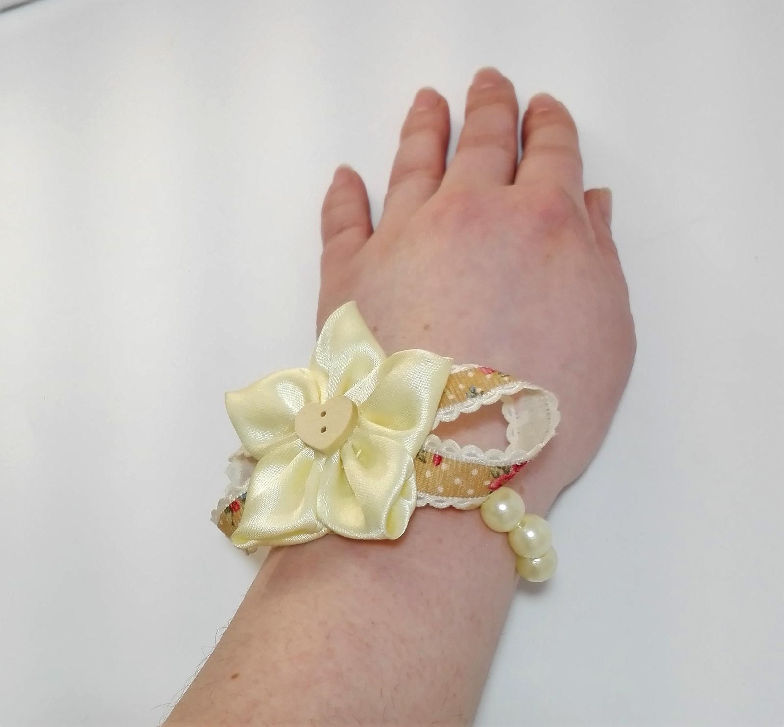 Náramok kvet+stužka - Obrázok č. 3