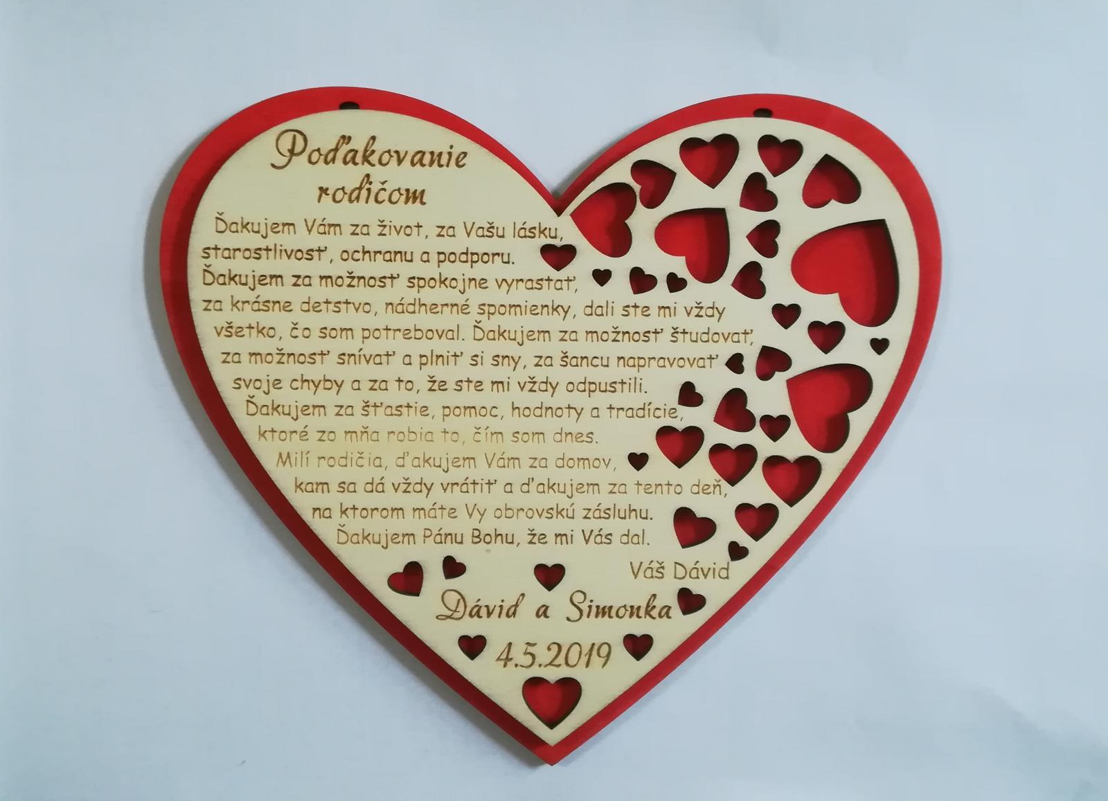 Srdce - poďakovanie rodičom - Obrázok č. 1