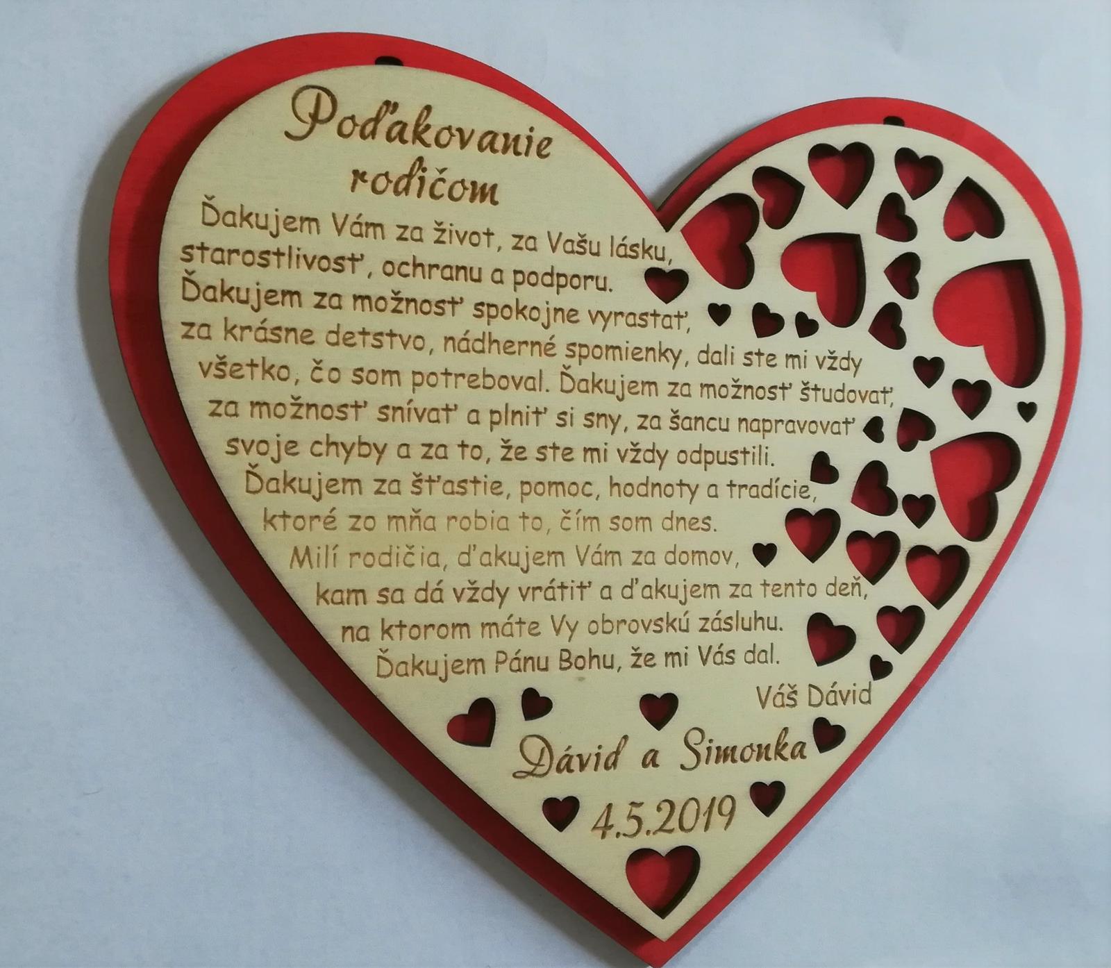 Srdce - poďakovanie rodičom - Obrázok č. 2