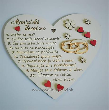 """Srdce """"Manželské desatoro"""" s ozdôbkami - Obrázok č. 1"""
