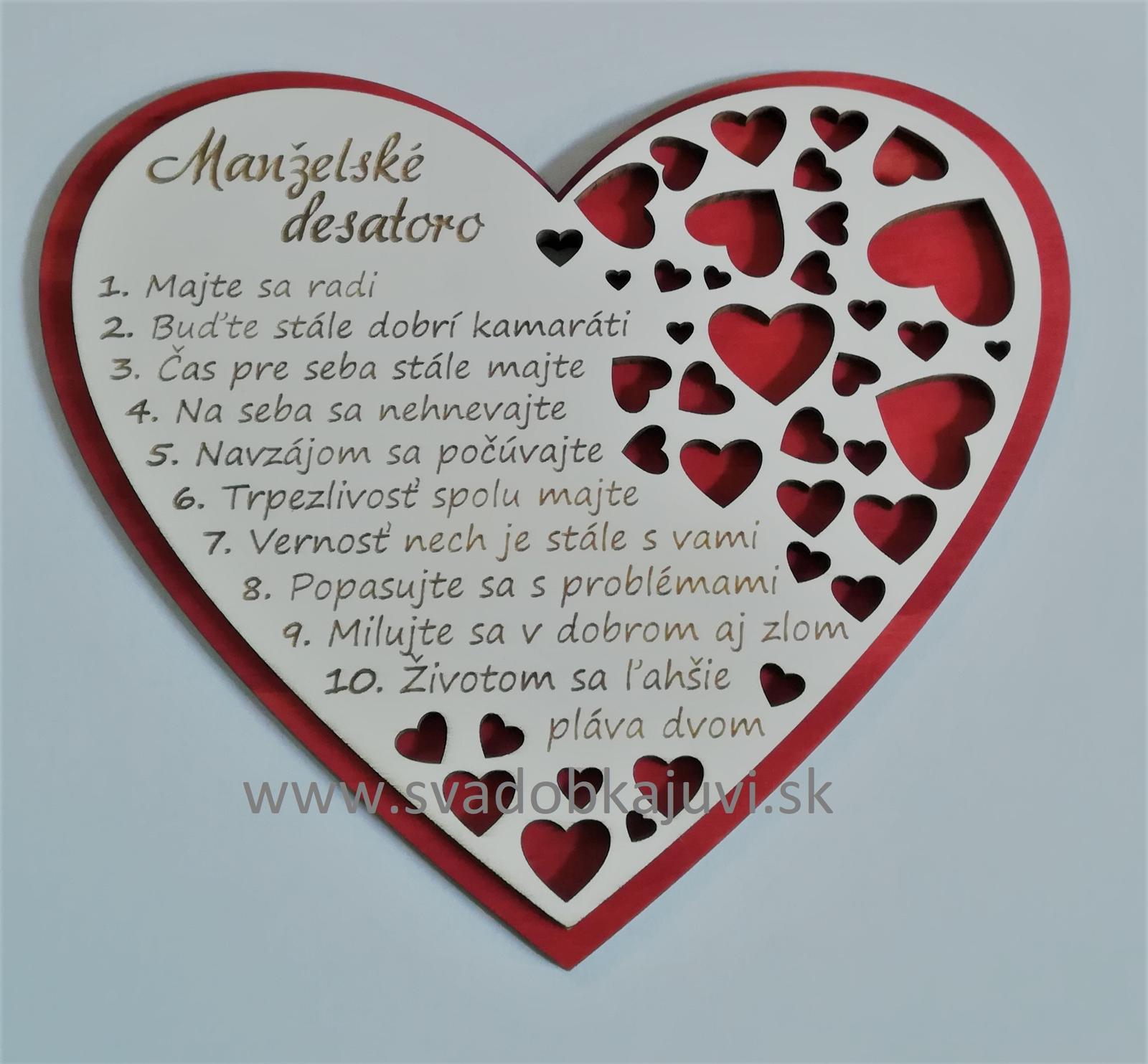 """Srdce """"Manželské desatoro"""" - Obrázok č. 1"""