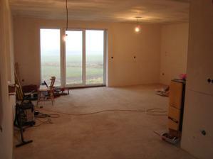 Světla v obýváku a jídelně, hotový strop