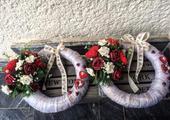 Svadobné venčeky červeno-biele,