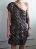 Šedé společenské šaty zdobené cvočky Warehouse, , M