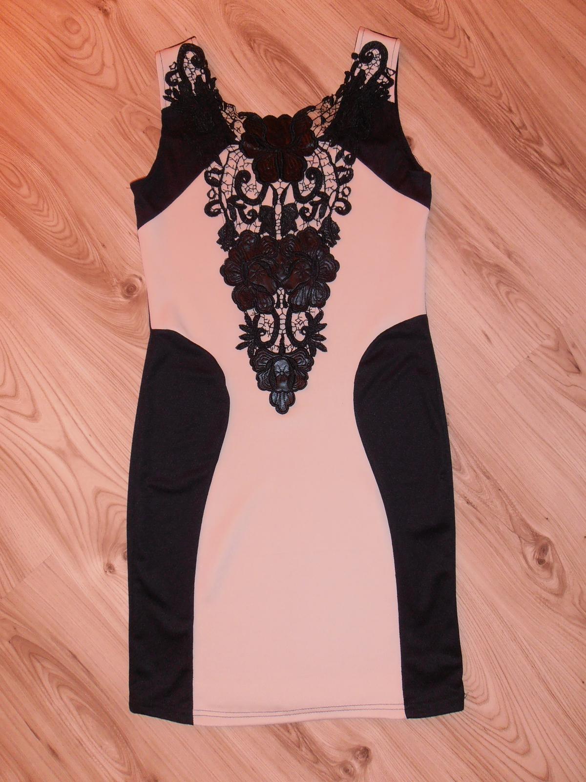 Čierno-béžové spoločenské šaty S/M - Obrázok č. 1