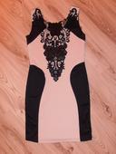 Čierno-béžové spoločenské šaty S/M, S