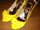 Žlté lodičky s mašľou, 38