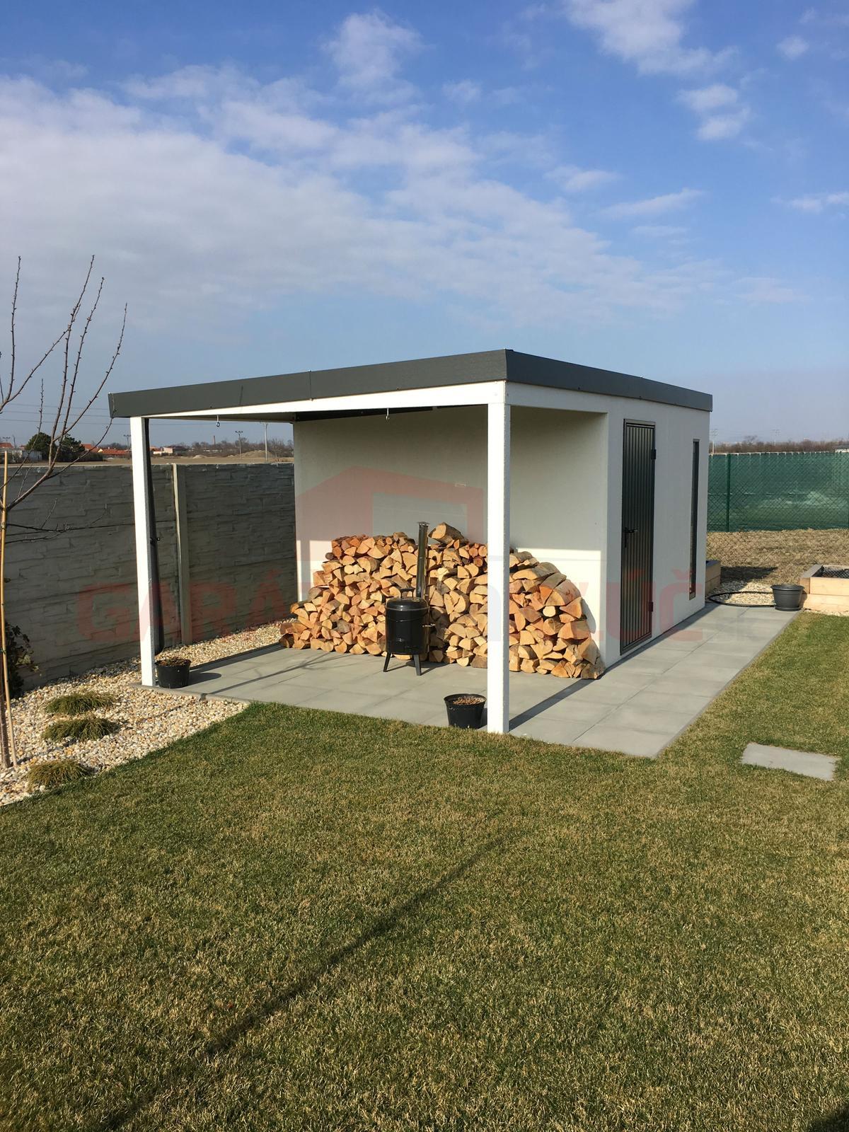 Montované záhradné domčeky GARDEON - Moderný záhradný domček na náradie s prístreškom
