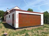 Montovaná garáž pre dve autá s tehlovou atikou a hnedými doplnkami