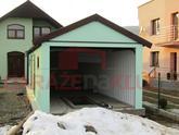 Montovaná oceľová garáž s hotovou omietkou v mätovej farbe